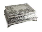 E.g. Webster And Son Silverplate Footed Vanity Jewelry Box Foliate Scroll Designs