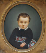 Elizabeth Rockwell American 1835-1911 Fine Oil Painting Potrait Of Young Boy