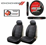 5 Pc Dodge Elite Seat Covers And Steering Wheel Cover Synth Leather Fast Shipping