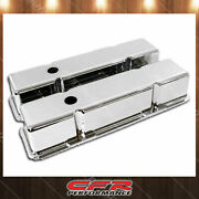Fits 1958-1986 Chevy Sb Small Block Tall Chrome Aluminum Valve Covers Smooth