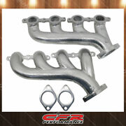 Cast Iron Exhaust Manifolds Fits 02-12 Chevy Ls Based Ceramic Silver