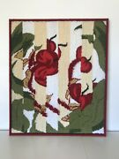 Vintage Abstract Needlepoint Flower Tapestry Framed