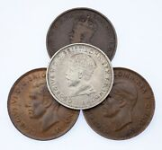 1911-1944 Australia Penny And Florin Coin Lot Of 4, Km 23, 31, 36
