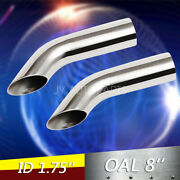 1.75 Turn Down Exhaust Tips 1 3/4 Inlet 8 Long 2pcs Stainless Steel