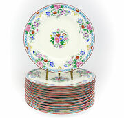 12pc Wedgwood Porcelain Luncheon Plates 9 W284 Hand Painted Floral Enamel
