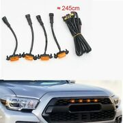 4pcs Plastic Car Front Grilles Grill Led Lights Lamp For Toyota Tacoma 2016-2019