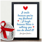 Personalised Valentines 1st First Wedding Anniversary Gifts For Husband Him