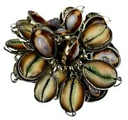100 Natural Cowrie Stone 925 Sterling Silver Overlay Wholesale Lot Pendants