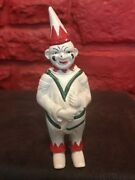 Vintage Cast Iron Jester Clown Gnome Penny Bank White Red Green A4