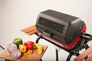 Electric Grill Bbq Outdoor Rotisserie Black Red Cart Barbecue Wood Side Tables