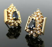 Vintage 1.0ct Diamond And 0.90ct Sapphire 14k Yellow Gold Cluster Earrings