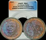 2008-d John Quincy Adams Dollar Anacs - Ms67 Turquoise/red/brown Toned