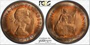 1967 Great Britain One 1 Penny Pcgs Ms64rd Target Rainbow Toned Coin Low Pop