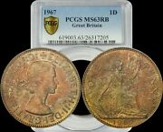 1967 Great Britain One Penny Pcgs Ms63rb Red-brown Multi Colored Toned Coin