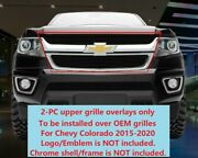 Black Upper Billet Grille Grill Overlays For Chevy Colorado 2015-2020