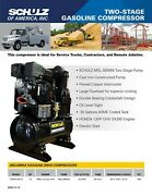 New 13hp Schulz Air Compressor Two Stage Gas Honda Phase 230 Volt 1330hl30x-g
