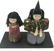 Japan Vintage Japanese Fabric Doll Of Emperor And Empress With Wood Stand H16cm