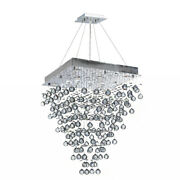 Clearance Icicle 8 Light Clear Crystal Rain Drop Square Chandelier 24x32 Large