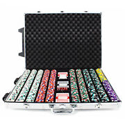 New 1000 Monaco Club 13.5g Clay Poker Chips Set With Rolling Case - Pick Chips