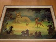 Disney Bambi Meets His Forest Friends1940and039s Framed Movie Lithograph 24x20
