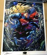 Limited We Can Be Heroes Superman Unchained Signed Jim Lee Poster Litho 42/70