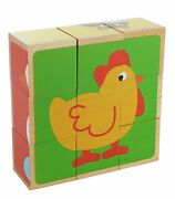 Adorable Farm Animals 6-in-1 Block Puzzle Toy - Colorful Solid Wood Cube Blocks