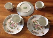 3 Sets + Extra Cup Luncheon Snack Sets Dolphin Fine China Le Jardin Plates Cups