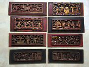Rare Antique Chinese Wood Panel Lot 8pcs Collectible Pieces One Of Kind