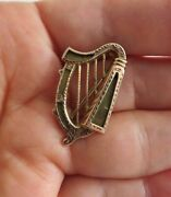 Antique 1880and039s Victorian Irish Celtic Harp 10k Rose Gold C-clasp Pin Brooch