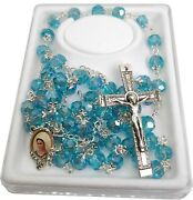 Woman Rosary Crystal Glass Sky Blue Rosaries From Medjugorje + Gift Box