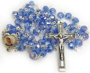 Woman Rosary Crystal Glass Blue Rosaries From Medjugorje + Gift Box