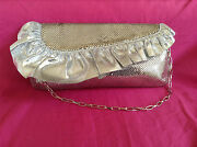 Vintage Whiting And Davis Gold And Silver Mesh Clutch/evening Purse W/ Silver Chain