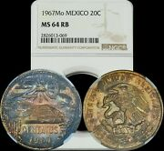 1967 Mo Mexico 20 Centavos Cents Ngc Ms64rb Multi-color Toned High Grade Coin