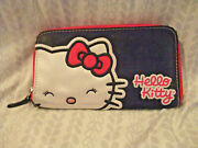 Vintage Hello Kitty Trifold Clutch Wallet Official Sanrio Black Hot Pink 1995