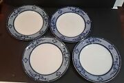 Antique Burgess And Leigh Burleigh Ware Flow Blue Dinner Plate X 4 C.1870and039s