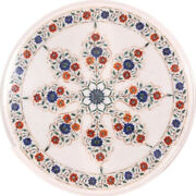 24x24 Handmade White Marble Inlay Home Decor Antique Scagliola Table Top 206