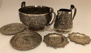 Rare Antique 19c Kutch / Madras Anglo-indian Sterling Set With Cobra Handles