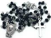 Sterling Silver 925 Rosary Necklace Crystal Black Beads From Medjugorje Rosaries