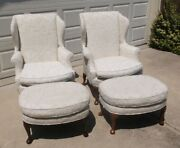 Vintage Kindell French Upholstered Wingback Arm Chair And Ottoman 2 Available
