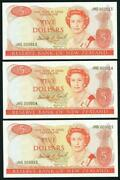 New Zealand - 5 - 3 Consecutive Banknotes - Brash And039type 1and039 - Jhg000013 - 15 - F
