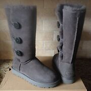 Ugg Bailey Button Triplet Triple Ii Gray Grey Tall Boots Size Us 7 Womens