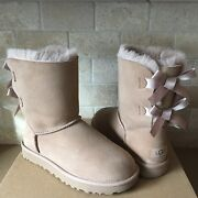 Ugg Short Bailey Bow Ii Fawn Water-resistant Suede Fur Boots Size Us 7 Womens