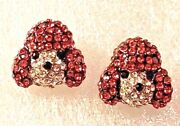 Poodle Dog Crystal Covered Post Stud Earrings Jewelry