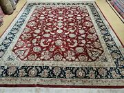 8and039 X 10and039 Vintage Hand Made India Wool Silk Accents Rug Hand Knotted Organic Nice