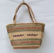 Makah Indian Basket With Whale Canoes 7 1/2 X 4 X 12 + 6 Handle