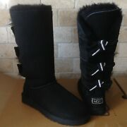 Ugg Amelie Bailey Bow Triple Triplet Bling Black Boots Size 7 Womens
