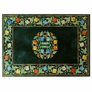 Very Beautiful Black Marble Dining Table Top Inlay Work Home Decor 849