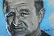 Robin Williams Portrait Painting On Canvas - Celebrity Mixed Media Wall Art