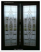 Exterior Solid Woodt Double Doors With Bevel Leaded Glass Panels