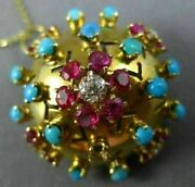 Antique 1.80ct Diamond And Aaa Ruby And Turquoise 18kt Yellow Gold Pendant And Brooch